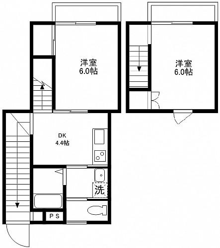 洋室6帖・6帖 DDK4.5帖 キッチン バス トイレ