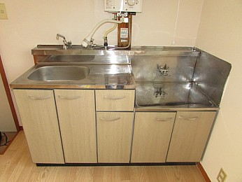 キッチン 2口コンロ設置可 スペース広めで調理のしやすいキッチン