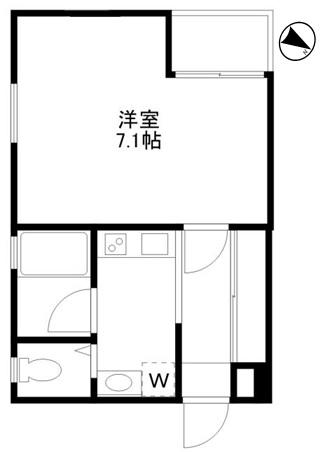 洋室7.1帖 キッチン バス トイレ バルコニー
