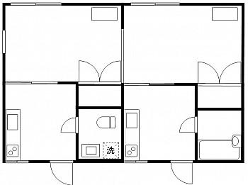 洋室6帖 洋室6帖 キッチン2箇所 バストイレ別