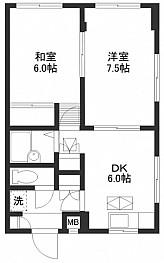 洋室7.5帖 和室6帖 DK6帖 キッチン バス トイレ