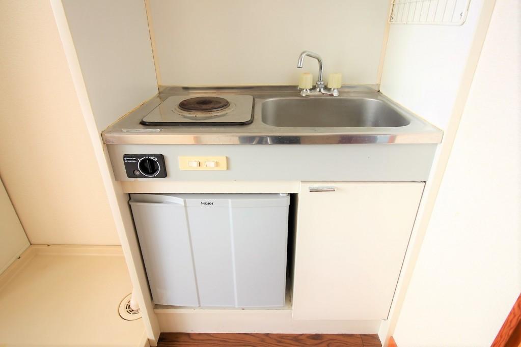 1口電気コンロ 冷蔵庫付き