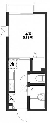 洋室5.83帖 キッチン バス トイレ