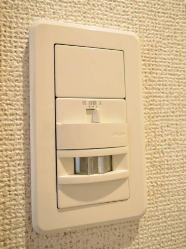 センサーがあり自動で玄関の照明が点灯