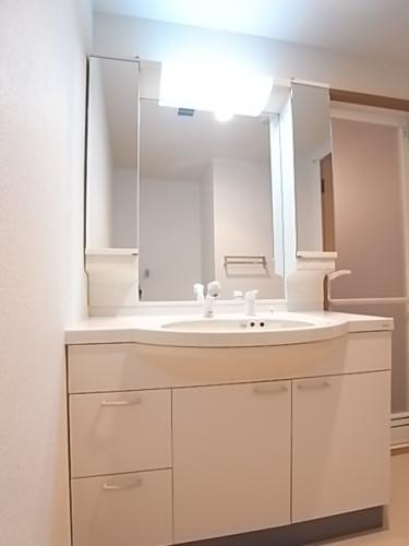 大型のミラーを配したシャワー付き独立洗面台!