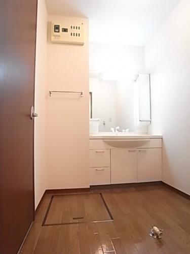 家族で使用しても十分広さのある洗面脱衣所。幅167×奥146
