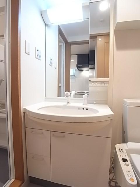 シャワー付き洗面化粧台で鏡も大きい!