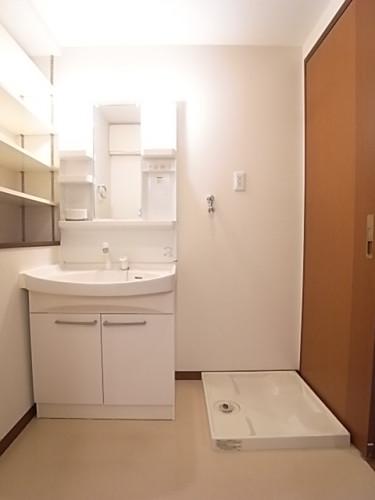 洗面脱衣所は広くて使いやすい。シャワー付き独立洗面台!