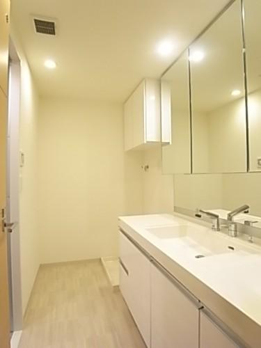 洗面脱衣所も広くて使いやすい。