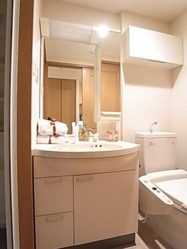 シャワー付き独立洗面台で鏡も大きい!(備品は付属しておりません)