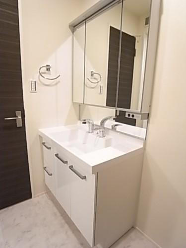 三面鏡がうれしいシャワー付き独立洗面台!