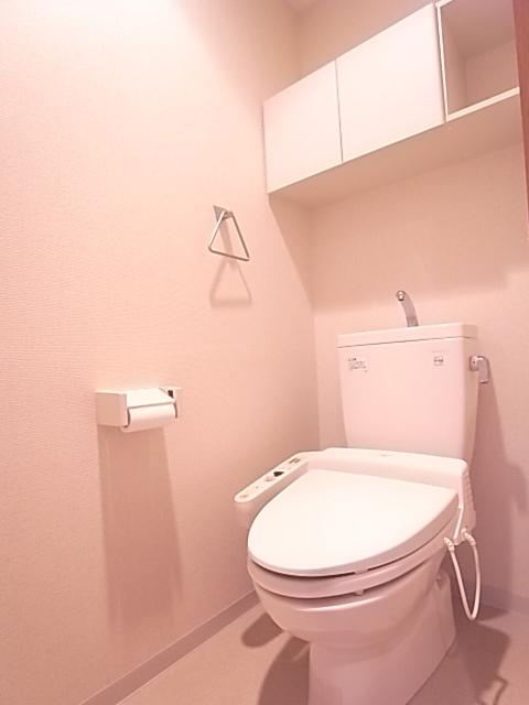 当然、温水洗浄便座付き。上部棚にはペーパー類のストックを。