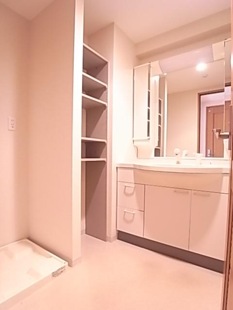 洗面脱衣所。大型のミラーを配したシャワー付き独立洗面台!