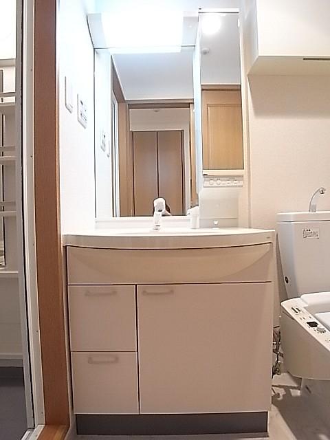 シャワー付き洗面台で鏡も大きい!