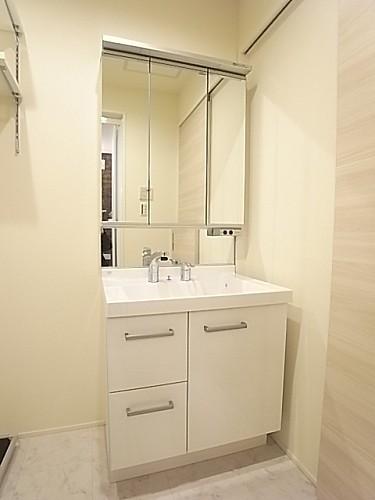 大型の三面鏡を配したシャワー付き独立洗面台!
