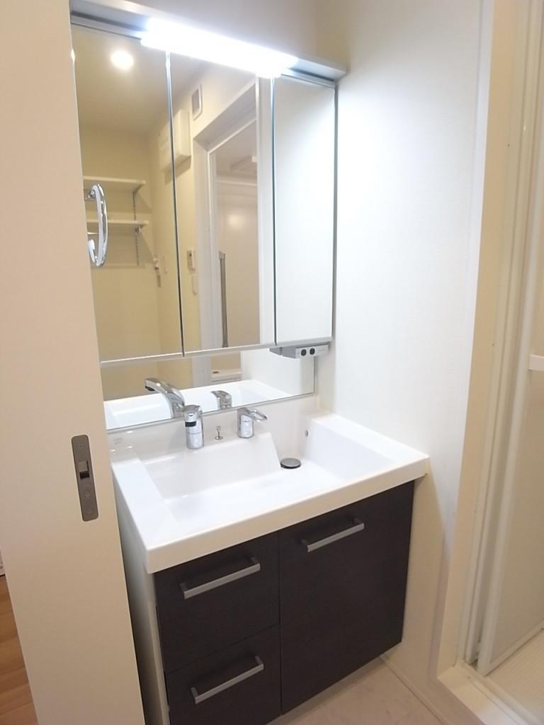 三面鏡のシャワー付き独立洗面台!