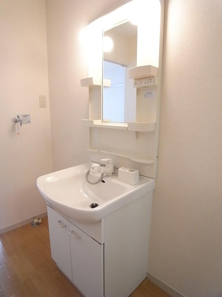 シャワー付き独立洗面台!その向こうが洗濯機置き場です!