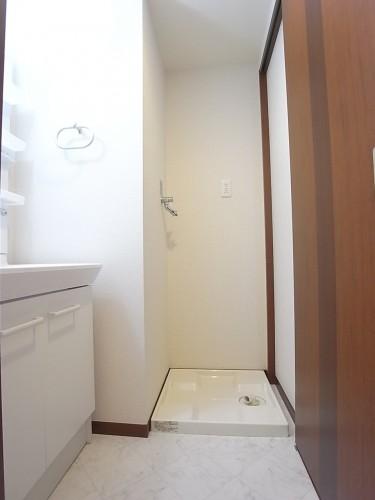 洗面脱衣所。すぐ左手は洗面台、正面奥が洗濯機置場。