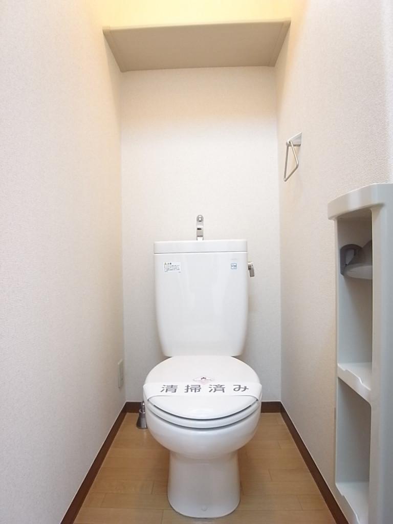物を置けるペーパーホルダーが便利なトイレ!