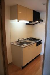 システムキッチンは2口ガスコンロ内蔵!