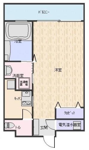 キッチンにFIX窓、バスルームにも窓があります。