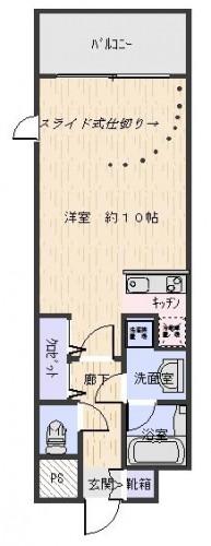 広々10帖洋室+カウンターキッチン2.5帖の広々間取りです!ベッドスペースを間仕切りで隠せます!