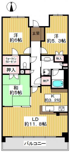 南向き。各居室に収納があります。