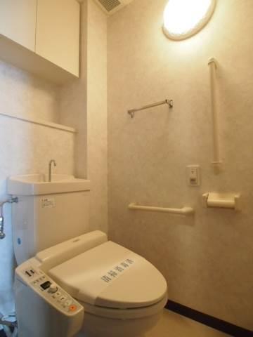 トイレには棚やタオル掛け、手すりなど便利な設備が。
