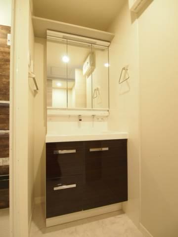 便利な独立洗面台は収納スペースも用意されてます。