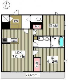 広いリビングが魅力のお部屋。使いやすい間取り。