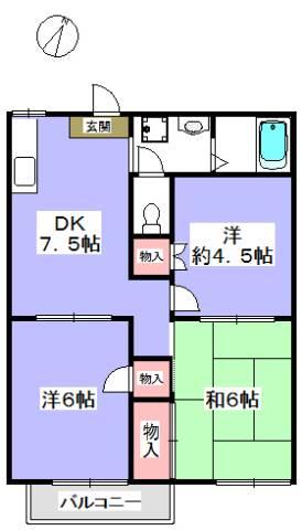 洋室と和室のある間取りです。