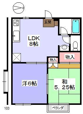 ゆったりとした洋室と和室の間取りです。