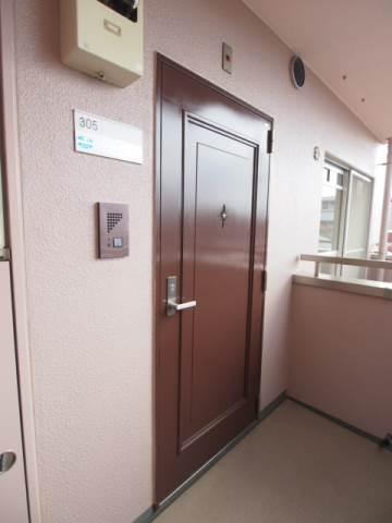 玄関ドアも落ち着いた色合いです。