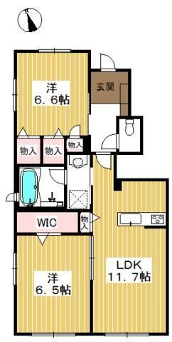 各お部屋がゆったり使える2LDKです。