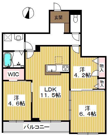 南面が3室の間取り。お子様がいても十分な広さ。