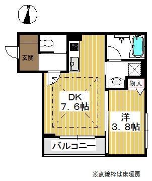 角部屋。ゆったりと使える単身用のお部屋。
