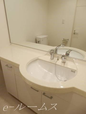 大きな鏡のある独立洗面台 便利なシャンプーD