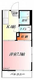 バス・トイレ別の1K★駐車場1台付無料★