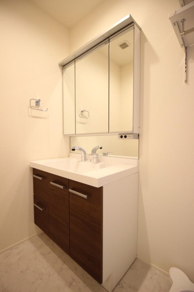 三面鏡のシャワー付独立洗面台!