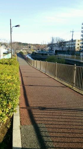 近隣の恩田川 自転車歩行者遊歩道