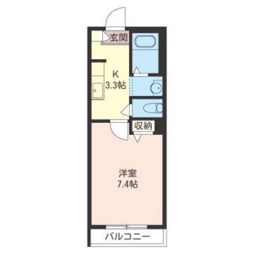 バス/トイレ別・独立洗面台と現在のニーズに合った1Kです。居室が7帖以上で使い勝手抜群。