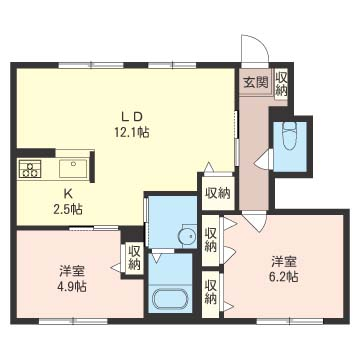 間口の広い14.6帖のリビングです。2つの洋室は寝室・子供部屋・書斎等でご利用頂けます。
