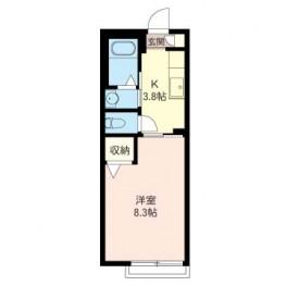 居室を広めに確保し、キッチン部をコンパクトにまとめた間取りです。