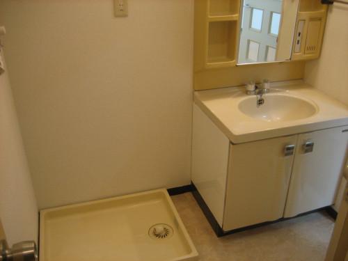 洗面化粧台横に洗濯機置場があります!