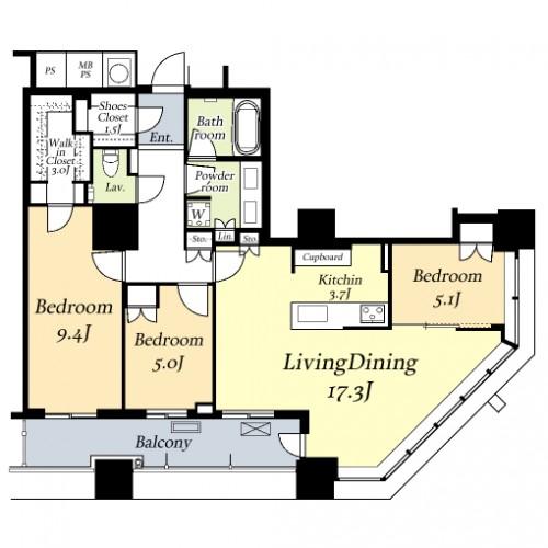 ザ・パークハウス西新宿タワー60~5808号室間取図