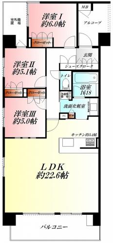 ◆14階最上階の角部屋◆開放的な3LDK◆