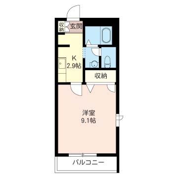 居室9帖超のゆとりの広さが有ります。室内洗濯機置場はもちろん、独立洗面台等ニーズに合った間取です。