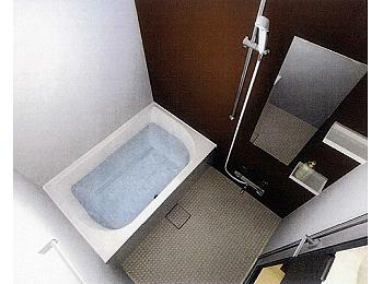 アクセントカラーが美しいバスルーム